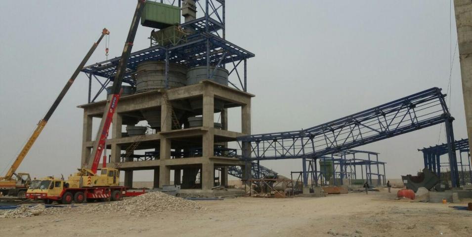 ساخت و نصب اسکلت فلزی سازه کارخانه سیمان العماره عراق