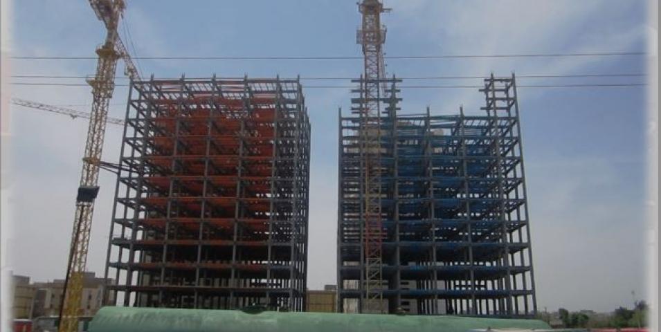 ساخت و نصب اسکلت فلزی برج های دوقلو  بادامستان
